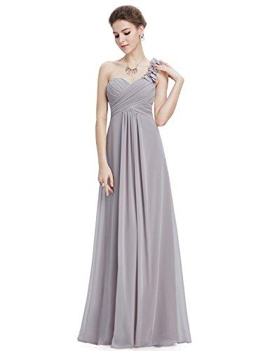 Ever Pretty Damen Blumen One Shoulder Chiffon Maxi Abendkleider 09768 Grey2