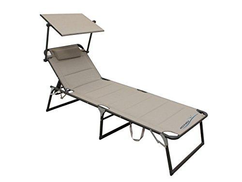Meerweh XXL Aluminium Sonnenliege Gartenliege mit Dach Dreibeinliege Textilene beige 200x70 cm bis 150kg Quick Dry Foam