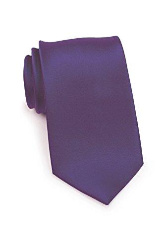 Puccini Schmale Krawatte, einfarbig, verschiedene Farben, Mikrofaser, Satinglanz, Handarbeit, 6 cm Slim Tie, Büro - Hochzeit - Alltag (Lila) -