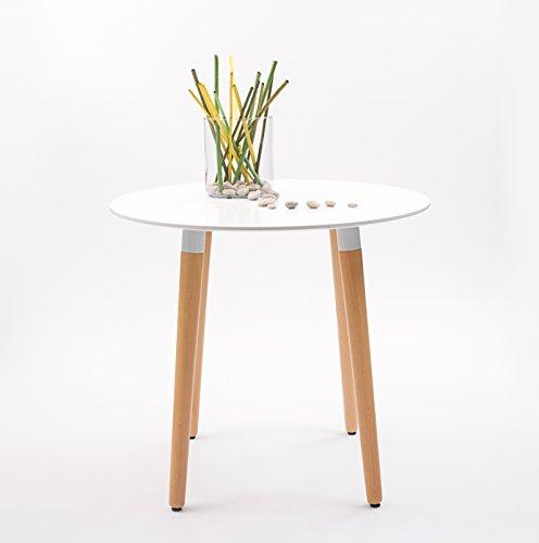 Mesa de comedor / cocina Nordik redonda, tapa lacada y patas de madera (80 cm.)