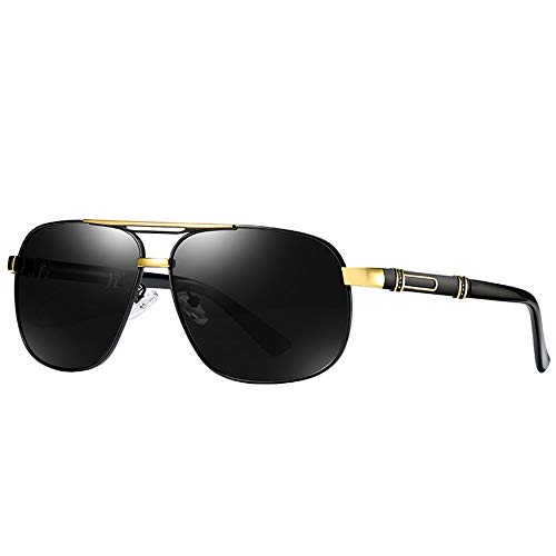WULE-Sunglasses Unisex Polarisierte Sonnenbrille männer Klassische Retro Sonnenbrille Outdoor fahrbrille uv400 Schutz persönlichkeit Spiegel Beine grau objektiv (Farbe : Gold)
