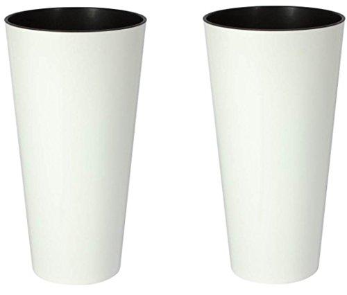 Tubus Lot de 2 pots de fleurs XL avec intérieur amovible en plastique robuste pour l'intérieur et l'extérieur - Blanc mat - Hauteur XL de 57 cm