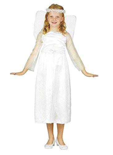 Engel Kleid Kostüm Fasching Karneval Mädchen Verkleidung Weiß Flügel 3teilig (104)