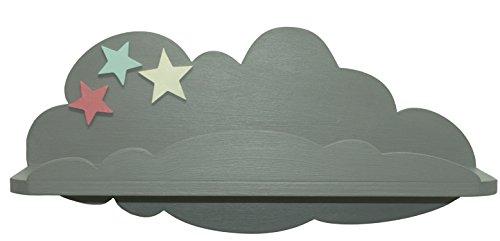 Sonpó online-modello afa39-mensola per bambini a forma di nuvola di afaeps per riporre libri, giocattoli, giocattoli, accessori-fatto a mano, produzione artigianale in legno-colore: grigio con stelle