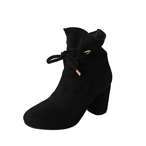 Zapatos por ESAILQ Botas Ocasionales de Primavera de Mujeres Botas de Tacón Cuadrado con Cordones Aire Libre por ESAILQ
