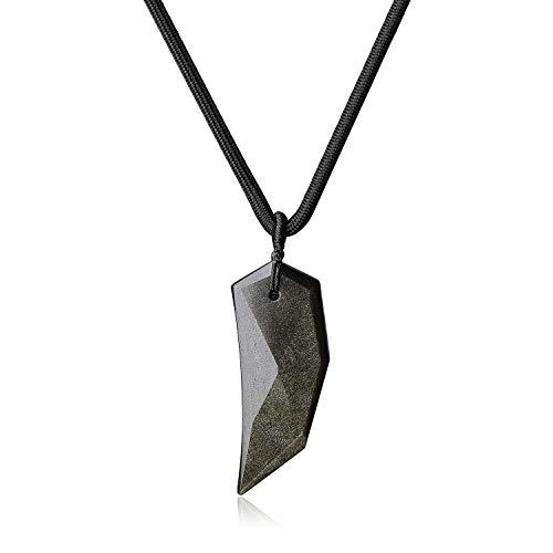 coai Geschenkideen Unisex Spitzer Anhänger aus Obsidian Gold Amulett Halskette