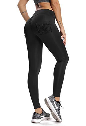 FITTOO Leggins Sportivi da Donna Yoga Pants Vita Alta Push up Fitness Palestra Allenamento, Nero, XL