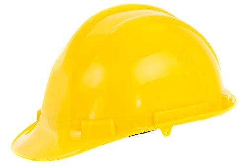 Reis Arbeitsschutzhelm EN397 | Schutzhelm ideal für Industrie oder Handwerk | Bauarbeiterhelm aus widerstandsfähigem PP | Arbeitshelm mit 4-Punkt-Aufhängung | Helm Farbe: gelb