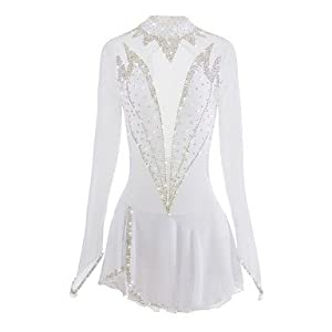 Eiskunstlauf Kleid für Mädchen Frauen, Handarbeit Rollschuhkleid Wettbewerb Kostüm Eislaufen Kleider Kristalle Lange Ärmel Weiß
