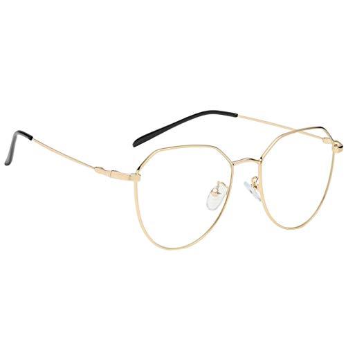 B Baosity klassische Brille Metallgestell Brillenfassung Vintage Brille Dekobrillen - Gold