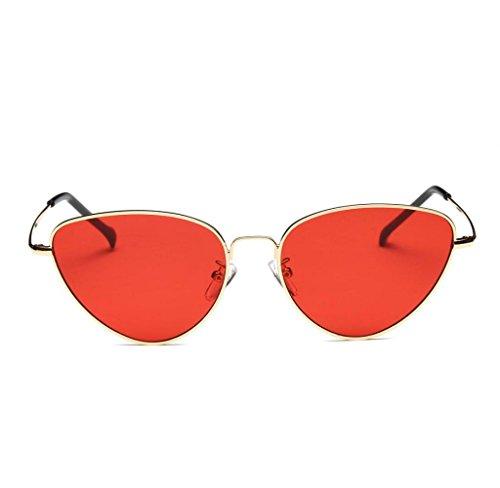 Amcool Unisex Sommer Retro Katze Augen Brille Aviator Spiegel Objektiv Sonnenbrille (Rot)
