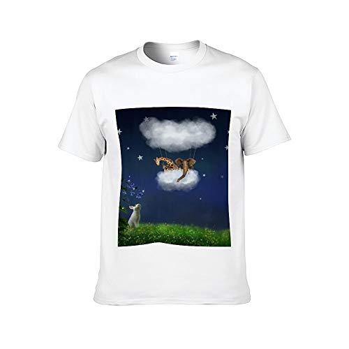 Mesllings - Camiseta de Manga Corta para Hombre, diseño de Conejo Mirando al Elefante y la Jirafa en el Globo de Aire Caliente Blanco Blanco XXXXXL