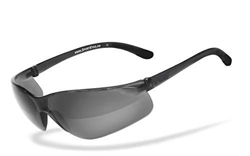 HSE SportEyes® | UV400 Schutzfilter, HLT® Kunststoff-Sicherheitsglas nach DIN EN 166 | Sportbrille, Radbrille, Sonnenbrille| Brillengestell: schwarz, Brille: Defender 1.0
