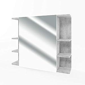 Vicco Mirror Cabinet Fynn Bathroom Mirror Concrete 80cm Bathroom Mirror with Racks