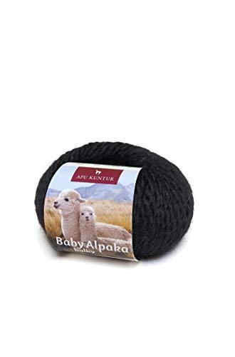 APU KUNTUR 100% Baby-Alpaka Wolle | Strick-Häkel-Garn weich, warm und kratzfrei | einzelnes Knäuel | 50m, Nadel 8 | wunderschöne Farben zum angenehmen Stricken und häkeln | schwarz -