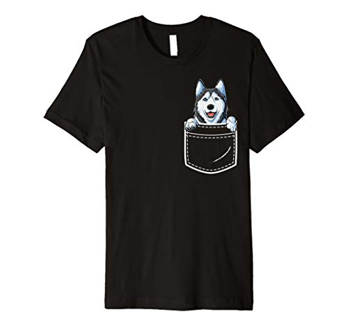 Siberian Husky Hund T-shirt (Sibirischer Husky Vorder Tasche T shirt Lustig Hund Welpe)