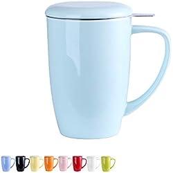 LOVECASA Tazza da tè con Infusore Acciaio Inox in Ceramica Porcellana, Filtri e Colini da tè, Filtro Infusori per tè, Set da tè caffè Mugs per Una Persona, 450ml, Azzurro