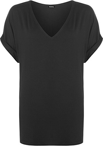 WearAll Women's New Plus Size Womens Short Turn Up Sleeve Baggy Plain Top Ladies V-Neck T-Shirt 16-22