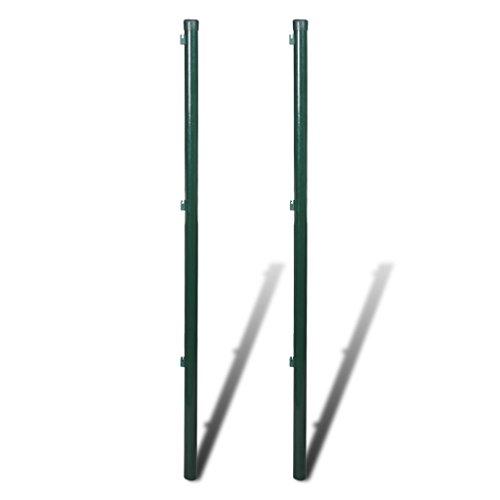*Festnight 2 Stücke Metall Zaunpfosten Zaunpfahl Eisen Höhe 115cm Dunkelgrün für Maschendrahtzaun Gartenzaun*
