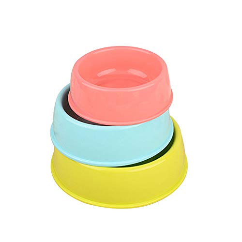 Yzibei Leicht zu reinigen Candy-farbigen Kunststoff Pet Runde Schüssel Katze und Hund Futternapf Pet Bowl Hundefutter Set große, mittlere und kleine 3 Packungen.