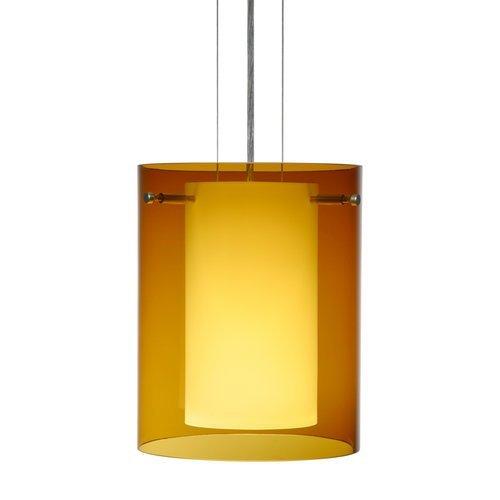 Besa Lighting 1KG-G00607-SN 1X100W A19 Pahu 8 Pendant with Transparent Armagnac/Opal Glass, Satin Nickel Finish by Besa