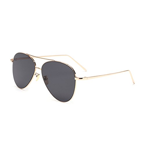 hmilydyk Herren Frauen polarisierte Aviator Sonnenbrille FLASH VERSPIEGELT Color Objektiv Metall, UV400, Rahmen Eyewear mit Fall, Gold Frame Black (Einfach Für Dress Ideen Frauen Fancy)