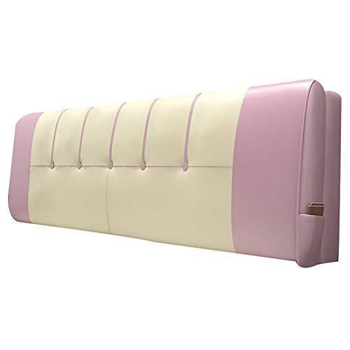 LINLINZ-Rückenlehne Bett Kissen Rechteck Gute Elastizität Seitentasche Weich Atmungsaktiv Schlafzimmer, 3 Farben 12 Größen (Color : Pink, Size : 120X10X58cm) -