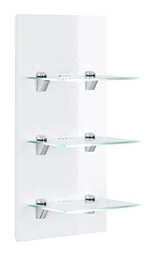 Posseik Badmöbelserie Viva LED-Panel Weiß Hochglanz Wandregal mit Glasböden + Beleuchtung (B/H/T)...