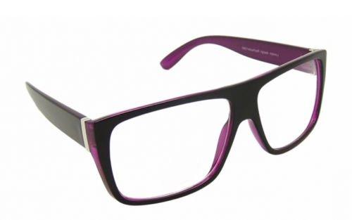 Flach Top Schwarz Violett Designer Geek CLEAR LENS Brille 80s NHS