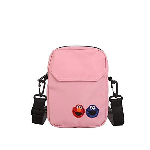 Applique Messenger Bag (XZDCDJ UmhängeTaschen Damen Frauen Nylon Joker niedlichen Messenger Bag Umhängetasche kleine quadratische Tasche Rosa)