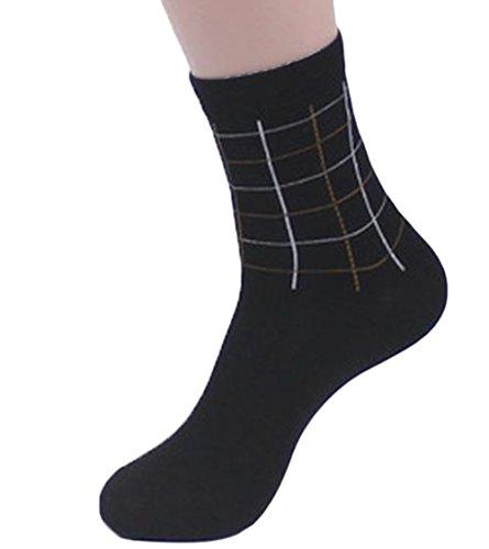 CAOLATOR Calcetines Rayas Otoño e Invierno Más Gruesos Calcetines de Algodón Cálidos Calcetines Mediano Moda Calcetines de Hombre-Negro