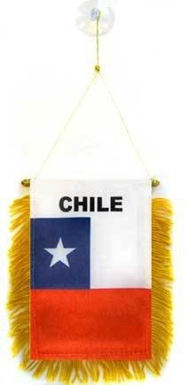 AZ FLAG Fanion Chili 15x10cm - Mini Drapeau chilien 10 x 15 cm spécial Voiture - Bannière