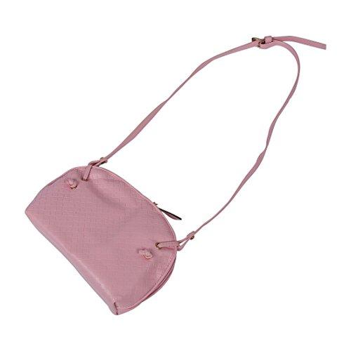 TOOGOO(R) Nuove signore di spalla del sacchetto Faux Satchel corpo Croce Tote Donne borsa - nero Rosa (rosa)