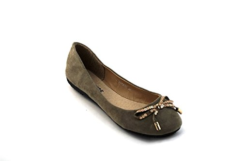 Sfiziosa-ballerines Faux Cuir Chaussures Noir Suede-kaki Fiocco Kaki
