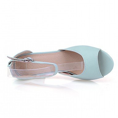LvYuan Da donna Sandali Finta pelle PU (Poliuretano) Estate Autunno Footing Fibbia Quadrato Beige Blu Rosa 7,5 - 9,5 cm beige