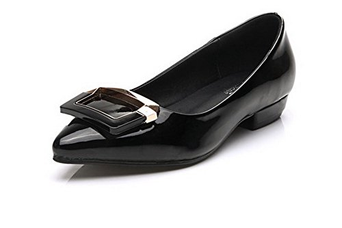 AalarDom Femme Couleur Unie Tire Pointu Matière Souple Chaussures Légeres Noir-Diamant Verre