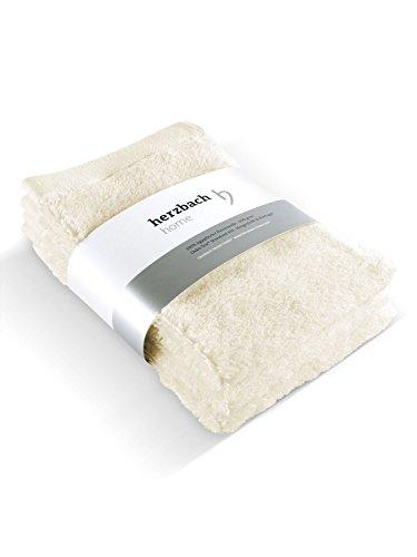 herzbach home Handtuch Gästetuch 3er-Set Premium Qualität aus Feinster Baumwolle saugfähig und Pflegeleicht 30 x 50 cm 600 g/m² mit Aufhänger (Naturweiß)