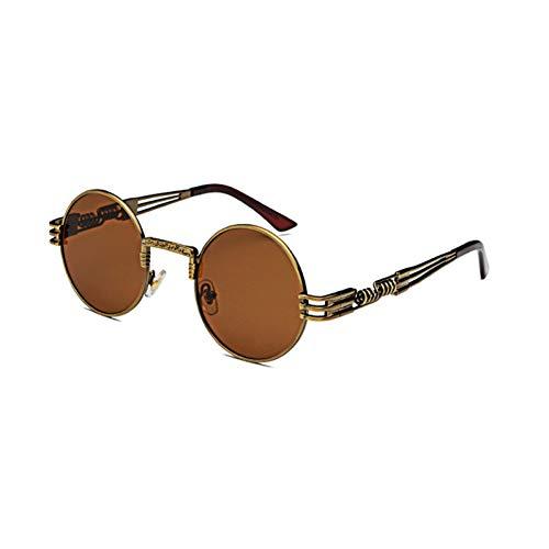 Siwen Neue Frauen Steampunk Sonnenbrille männer runde Sonnenbrille metallrahmen Spiegel Beschichtung,Antiker Bronze-Tee