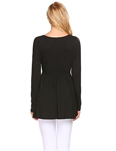 Damen Shirtkleid Mini Kleid Langarm Rundhals Stretch Casual Kleider Schwarz