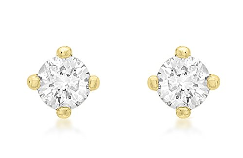 Carissima Gold 9 ct Yellow Gold 0.25 ct Diamond Solitaire Stud Earrings
