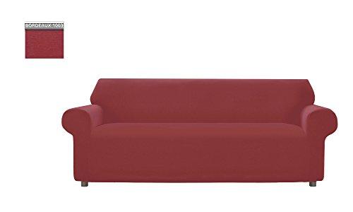 Copridivano genius tinta unita, per divano 3 posti, colore bordeaux 1003