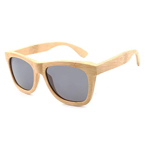 DX Retro Big Frame Bamboo Wood polarisierten, hölzernen Männer und Frauen Wayfarer Brille polarisierten Shade Brille (Farbe: grau)