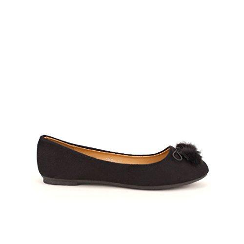 Cendriyon, Ballerine Noire Pompons CH MODA Chaussures Femme Noir