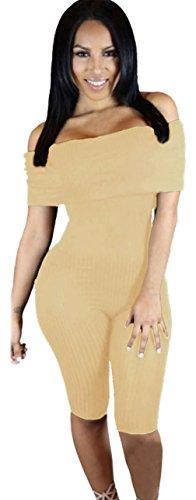 Y-BOA Combinaison Femme Bardot Moulant Jumpsuit Épaule Dénudé Été Abricot