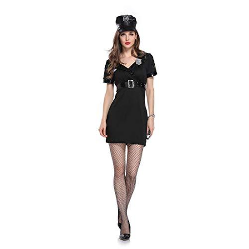 splay Uniform Party Dress Up, Schwarz Polizei Uniform Anzug,Sexy Angel Devil, Frauen Kostüm Party Dress,Black,M ()
