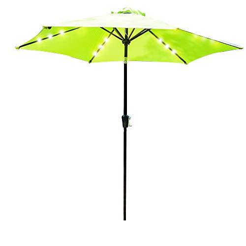 Hodiso 2,7 m LED-Lichter Sonnenschirm für Terrasse, Party, Garten, mit Regenschutz