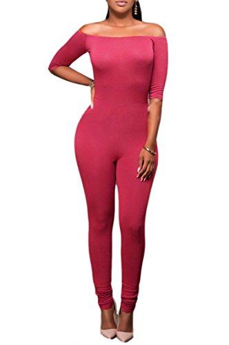 Combinaison Femme IHRKleid® Mode Épaule de rosée Haute Tour de taille Ensemble Pantalon de crayon Rouge