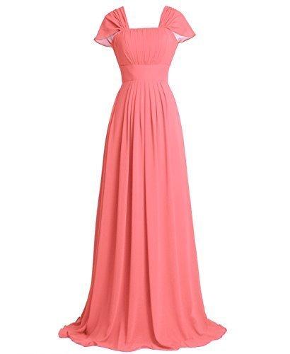 Papillon Fashion Plaza en mousseline de soie manches de demoiselle d'honneur Soirée formelle Robe de bal Longue D0160 Corail