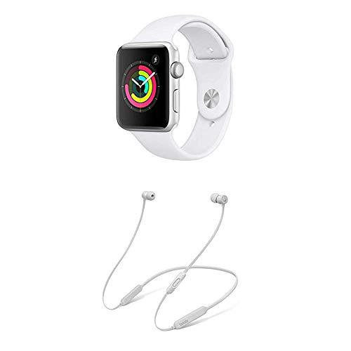 AppleWatch Series3 (GPS) con Cassa 42mm inAlluminio Colore Argento eCinturino Sport Bianco + BeatsX Auricolari - Satin Argento