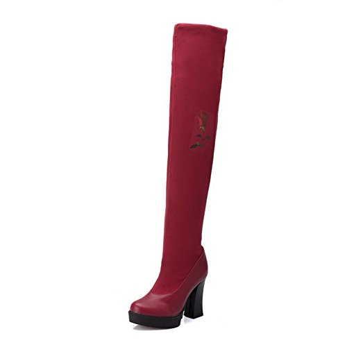 VogueZone009 Damen Gemischte Farbe Blend-Materialien Hoher Absatz Ziehen Auf Stiefel Rot